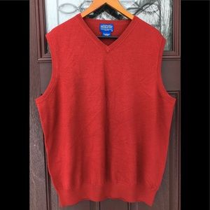 Pendleton Merino Wool Brick Red Vest V-Neck Vtg XL